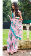 Chic Pink & Turquoise Floral Saree